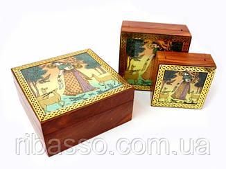9160167 Шкатулка с картинками из полудрагоценных камней Гопи