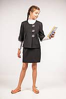 Пиджак школьный А-силуэта для девочек, размер 32, 34, 36, 38, 40. (П-50/1)