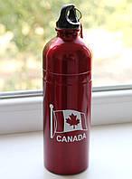 Фляга - бутылка алюминиевая с карабином, CANADA, 750 мл, красная