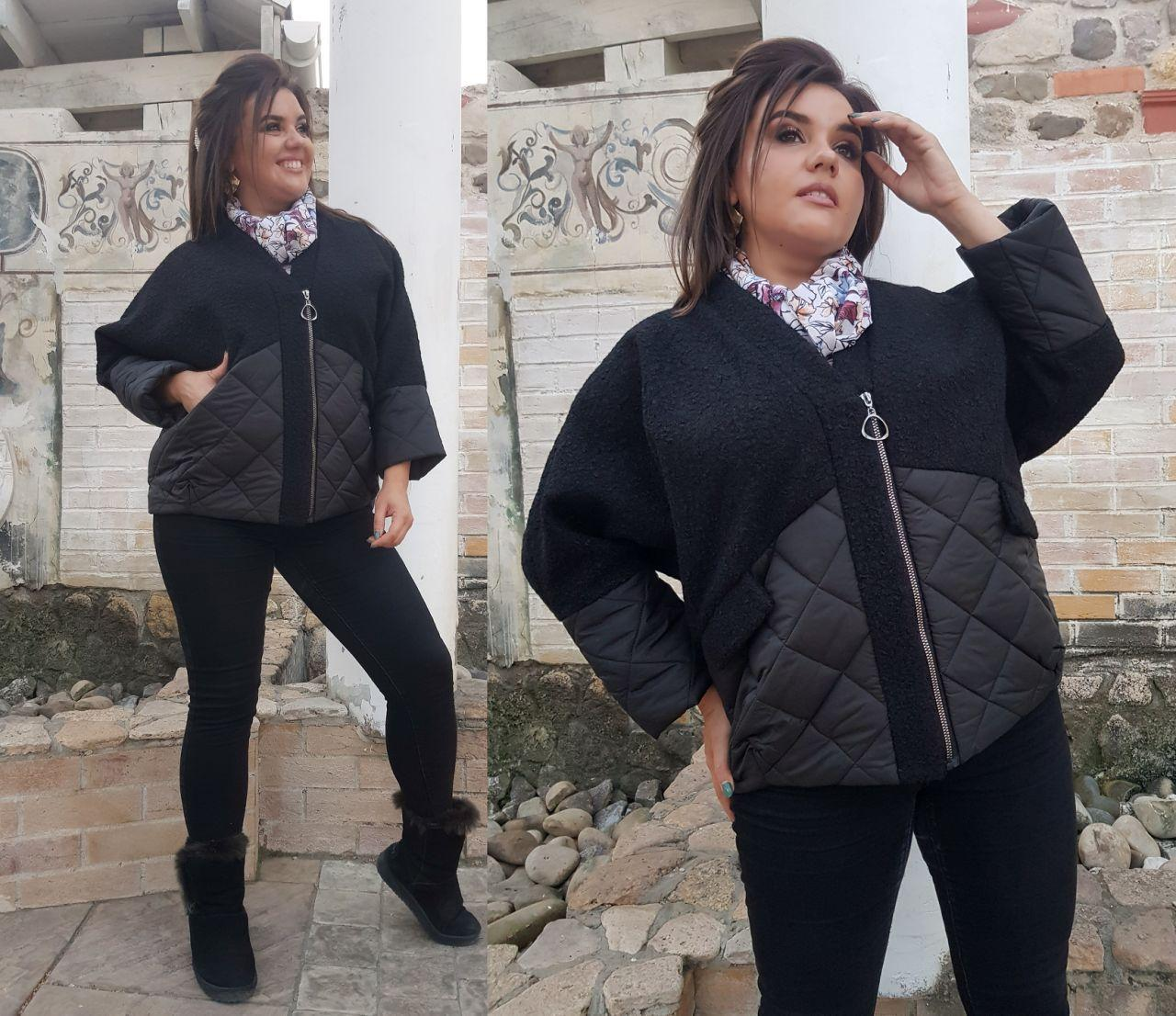Женская осенняя куртка: букле с плащевкой на синтепоне, батал большие размеры