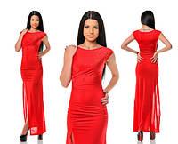 Платье Длинное вечернее с камнями красное