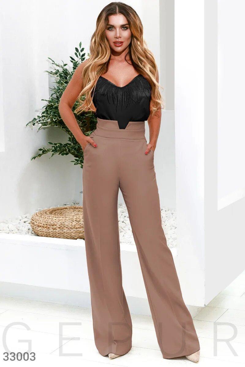 Женские брюки с высокой посадкой XS S M L