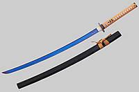 Самурайский меч катана  синий дамаск