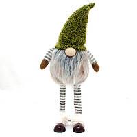 Мягкий декоративный  Гном с  длинными ножками, 41 см, серо-зелёный. (460334)