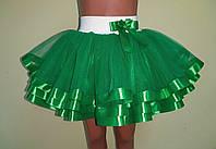 Дитяча пишна спідничка з фатину, на резинці, зелена, фото 1