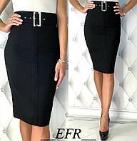 Женская деловая юбка стрейч-джинс 65 см