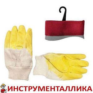 Перчатка стекольщика тканевая покрытая латексом на ладони желтая SP-0002 Intertool
