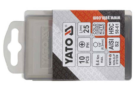 Набор бит PH2x25 10шт. YATO (YT-04752), фото 2