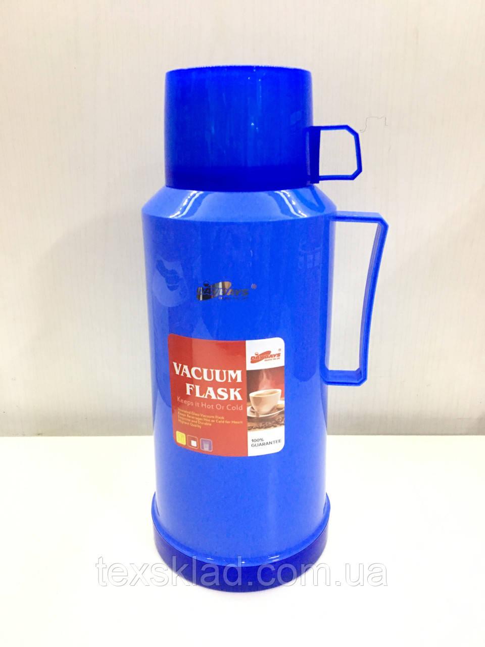 Термос вакуумный со стеклянной колбой DayDays 1,8 литра (синий)