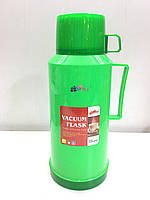 Термос вакуумный со стеклянной колбой DayDays 1,8 литра (зелёный)