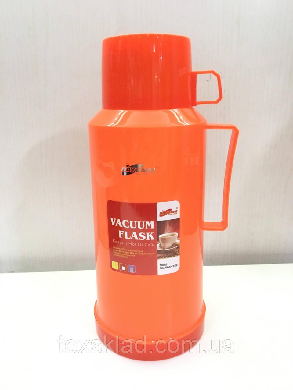 Термос вакуумный со стеклянной колбой DayDays 1,8 литра (оранжевый))