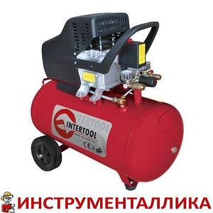Компрессор 50л 8атм 206л/мин 220В PT-0003 Intertool 1.5кВт 2HP