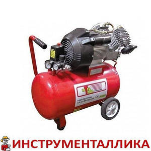 Компрессор 50л 8атм 420л/мин 220В PT-0007 Intertool 3кВт 4HP 2 цилиндра