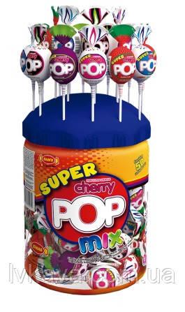 Леденцы с жевательной резинкой  Super Cherry Pop Mix , 30 гр х 80 шт
