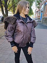 Куртка женская CLASNA 725 с мехом коричневая