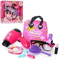 Детский набор косметики и других акссесуаров для девочки, фен, сумочка, заколочки, набор салон красоты