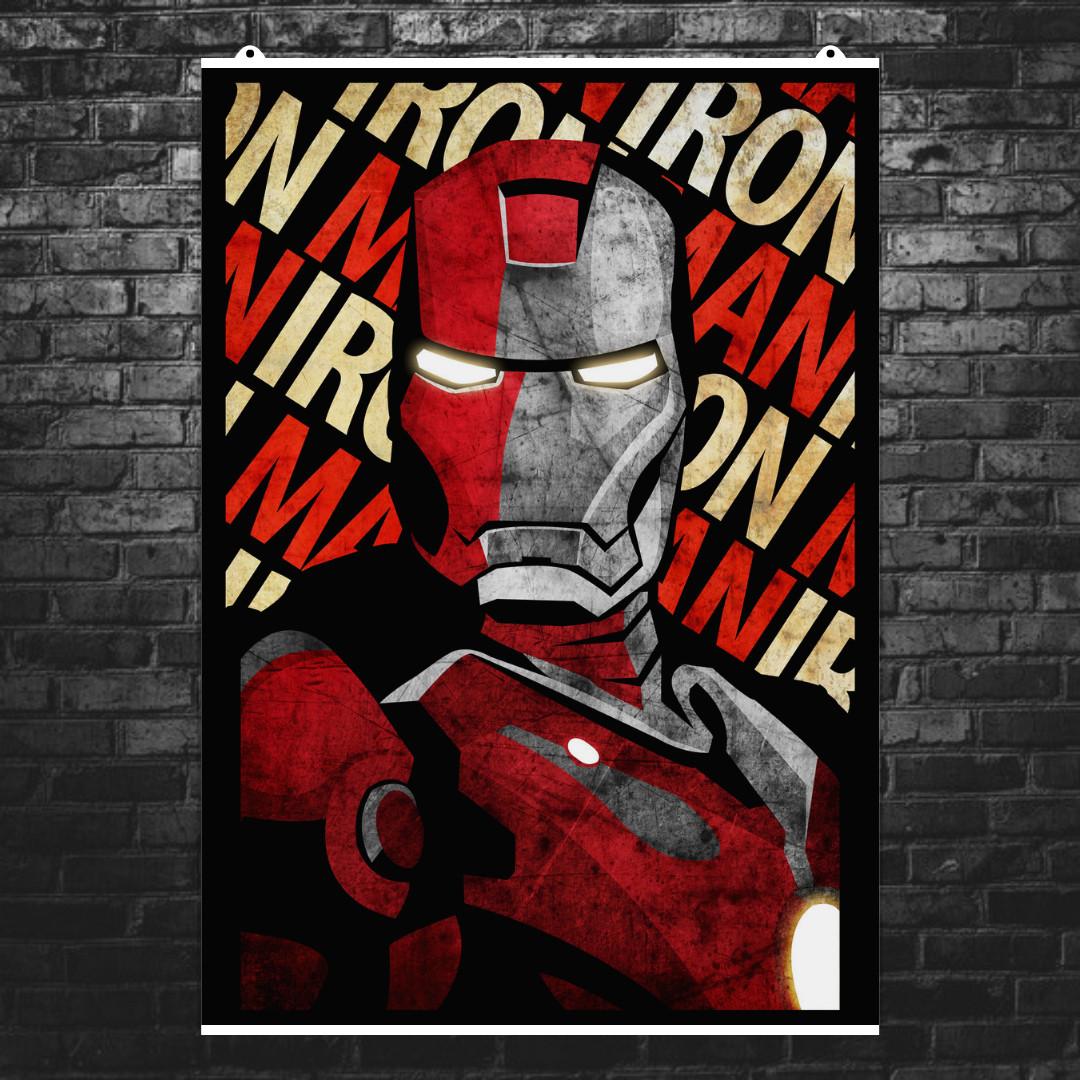 """Постер """"Железный Человек / Iron Man"""", минималистичный арт, Marvel. Размер 60x42см (A2). Глянцевая бумага"""