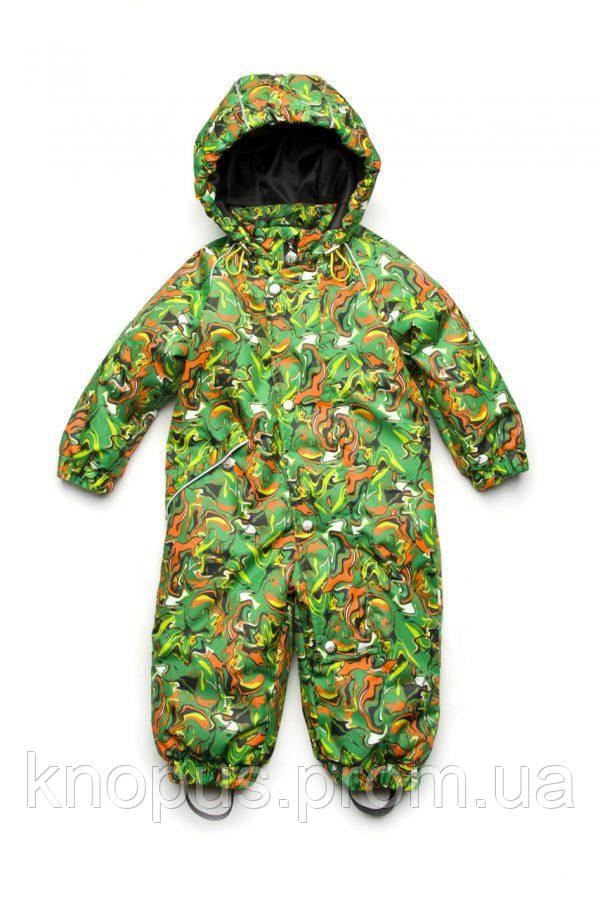 Демисезонный  комбинезон для маоьчиков, зеленый, Модный карапуз, размеры 80-98