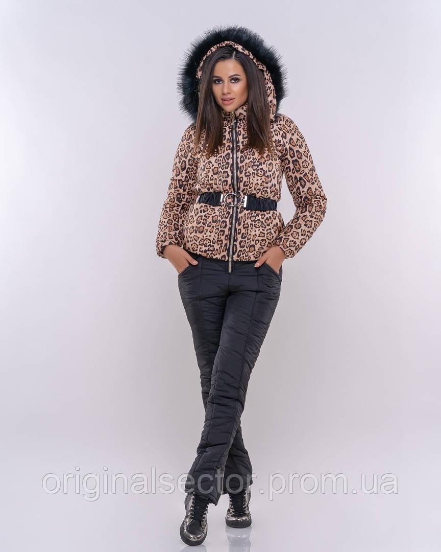 Зимний женский костюм с леопардовым принтом