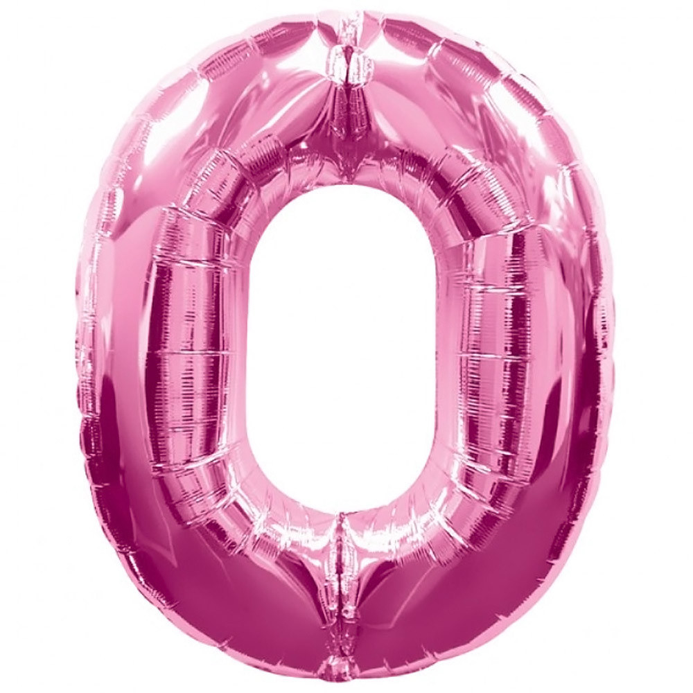 Фольгированная цифра 0 розовая 76 см Китай