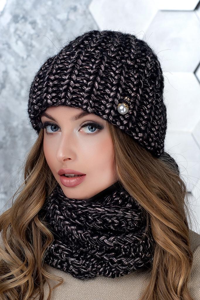 Комплект (шапка и снуд-хомут) Flirt Манго One Size черный-пудра