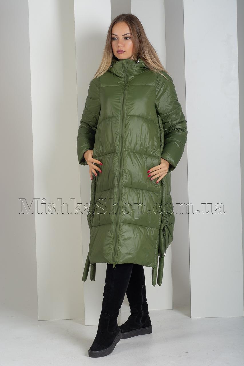 Модный длинный пуховик-трансформер зелёного цвета Boruoss 5188