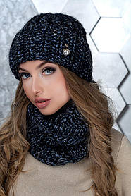 Комплект (шапка и снуд-хомут) Flirt Манго One Size черно-синий