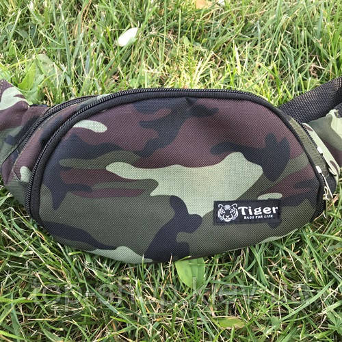 Спортивная сумка на пояс Tiger бананка мужская камуфляж (хаки)