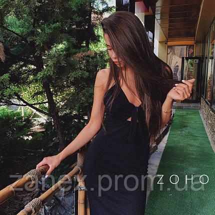Платье летнее в рубчик Zanex, черное, фото 2