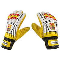 Вратарские перчатки Latex Foam FC BARCS,  красный/желтый №7.