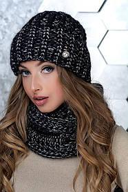 Комплект (шапка и снуд-хомут) Flirt Манго One Size черный-серебро