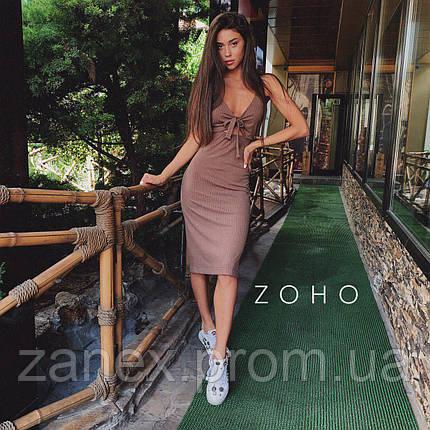 Платье летнее в рубчик Zanex, коричневое, фото 2