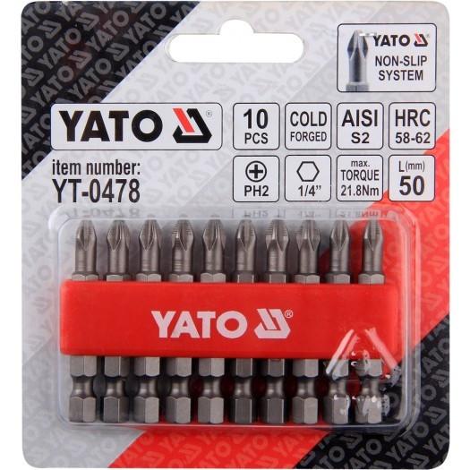 """Набір біт хрестових РН2 1/4"""" 50мм 10шт. YATO (YT-0478)"""