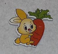 Пуговица Зайка с морковкой  600-78 поштучно, фото 1