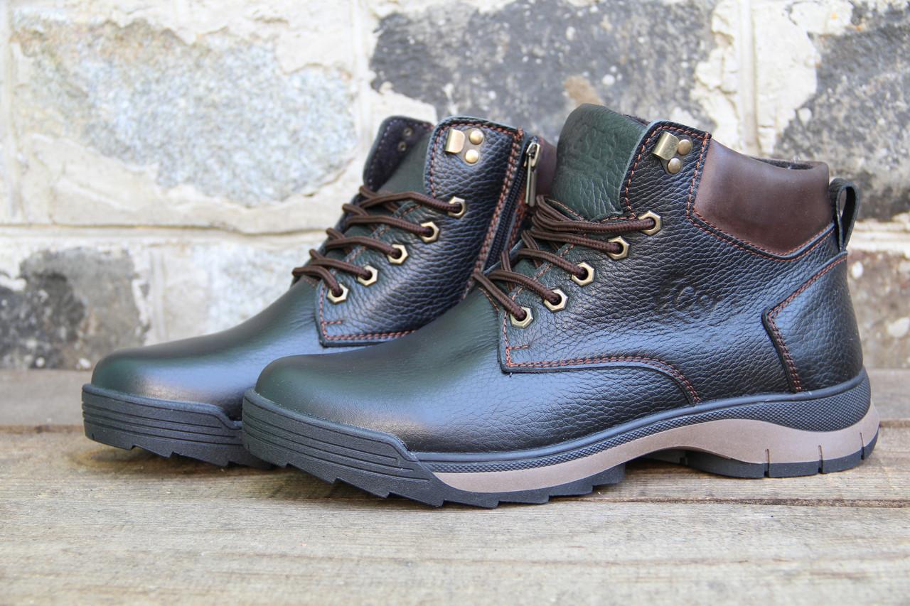 Мужские ботинки зимние из натуральной кожи и меха на молнии GSL 1160