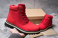 Женские зимние ботинки на меху в стиле Timberland Premium Boot, красные 39 (25,8 см)