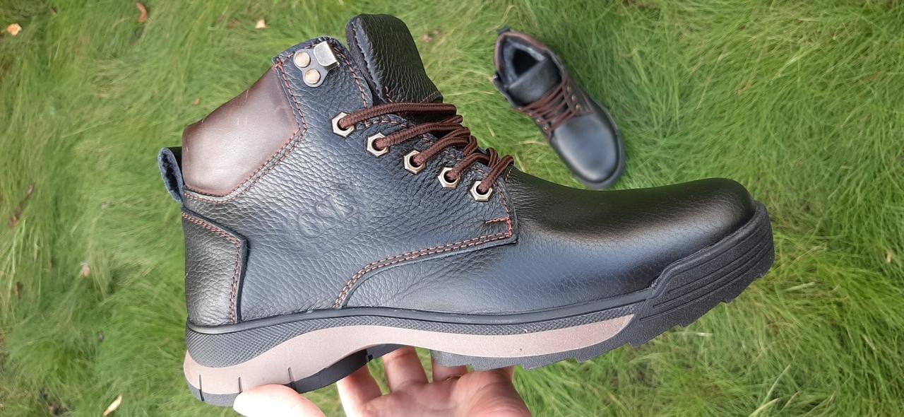 Мужские ботинки зимние из натуральной кожи и меха на молнии GSL 1160/20