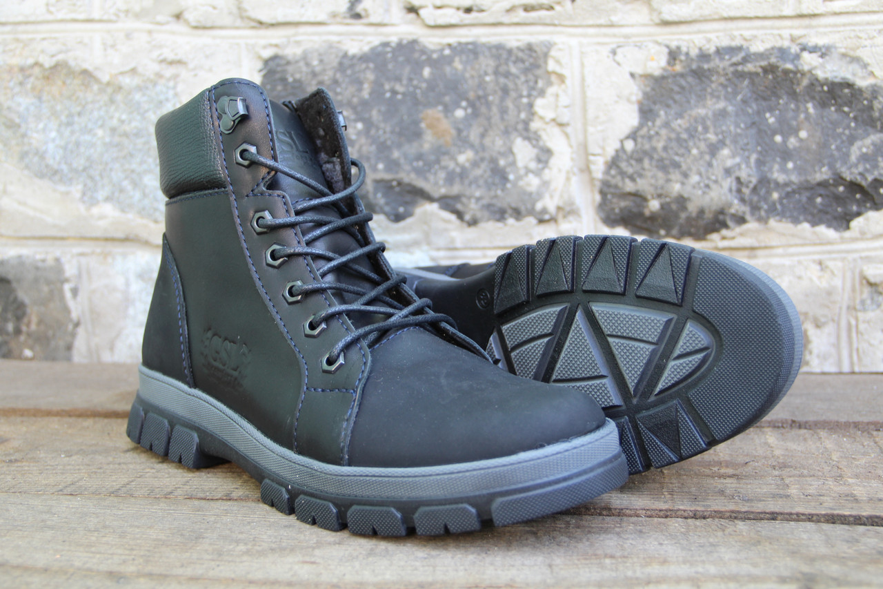 Мужские ботинки зимние из натуральной кожи и меха на молнии GSL 2016