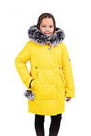 Зимний пуховик для девочек  подростков   34-42 желтый
