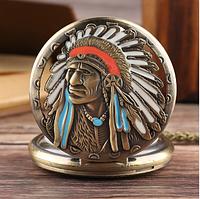 Мужские карманные часы на цепочке индеец