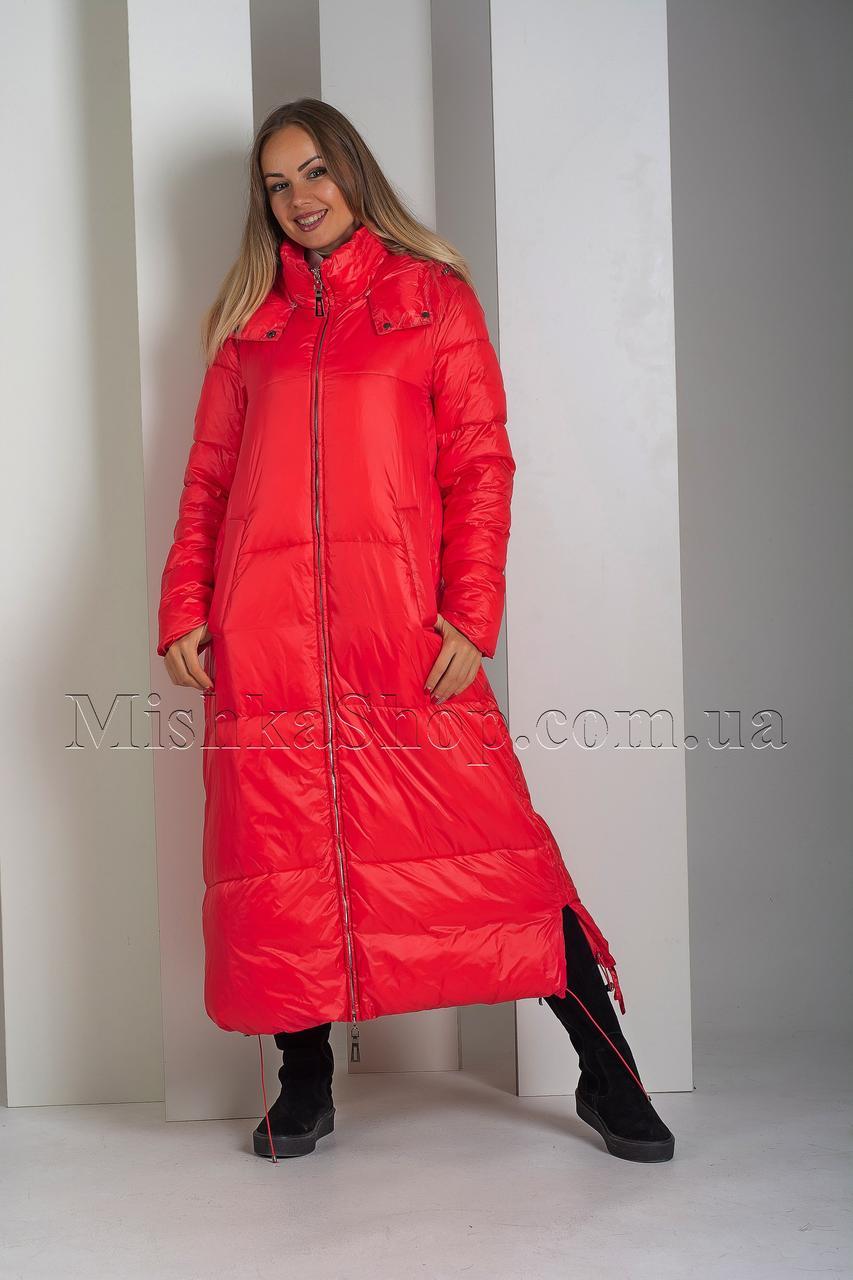 Крутой экстрадлинный оверсайз пуховик одеяло красного цвета Boruoss 3510