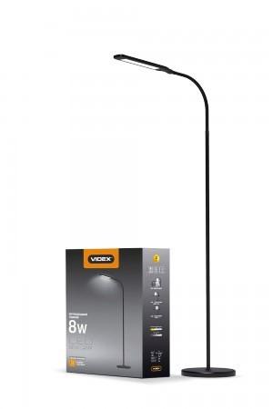 LED торшер напольный Videx VL-TF0702B 8W 3000-5500K black