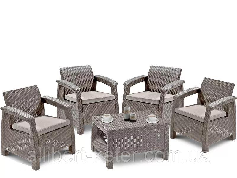 Комплект садовой мебели Allibert Corfu Quattro, фото 1