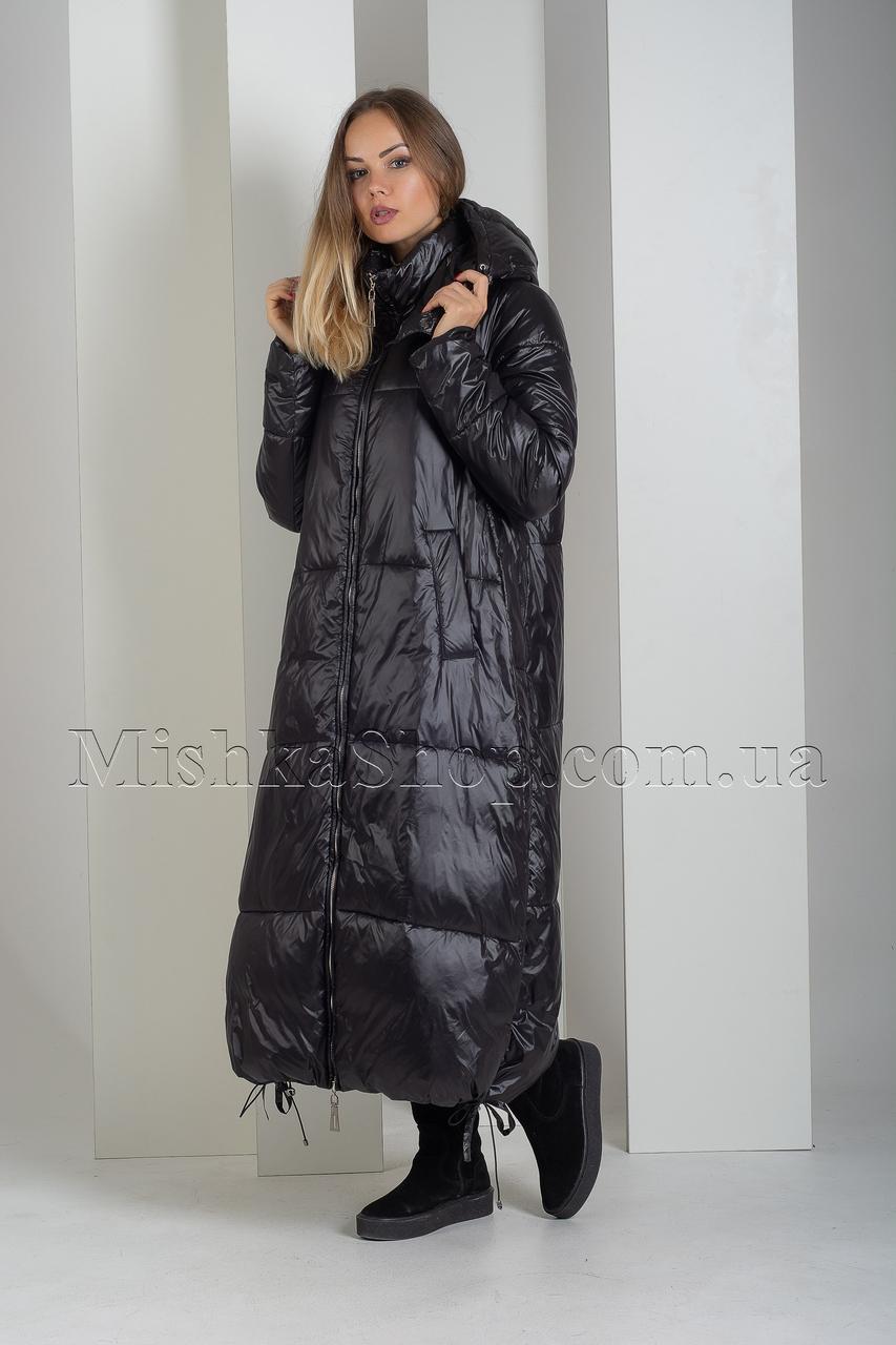 Крутой экстрадлинный оверсайз пуховик одеяло чёрного цвета Boruoss 3510