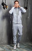 Мужской тёплый спортивный костюм Суприм 2019 серый на флисе осень/зима