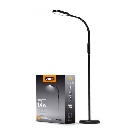 LED торшер напольный Videx VL-TF07B 14W 3000-5500K black