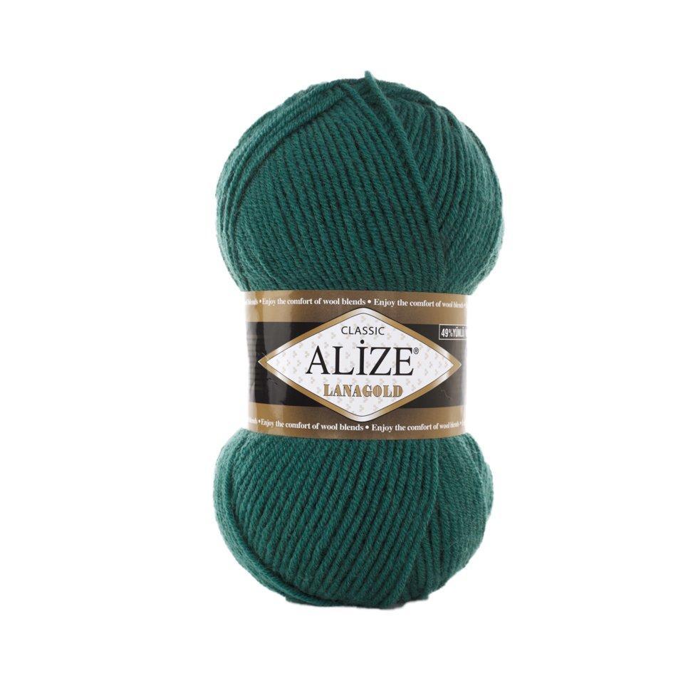 Пряжа Лана голд Lanagold Alize, №507, античный зеленый