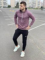 Мужской спортивный костюм Nike (найк) - сиреневая худи и черные штаны  / Весна-осень