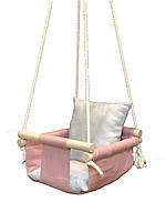 Льняная Детская подвесная качеля с подушками. Натуральный лён