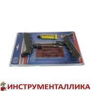 Набор для затяжки шнуров (шило, игла, клей и 5 шнуров) синий блистер, фото 3